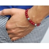 Sterling Silver Star Bead Red Jade Adjustable Bracelet Edus&Co