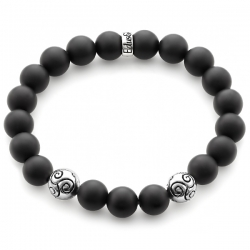 Silver Celtic Bead Matte Black Onyx Bracelet Edus&Co