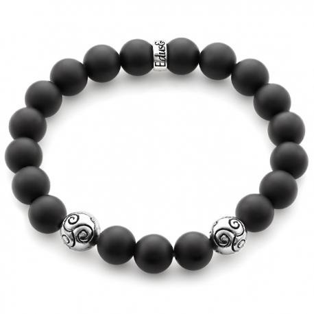925 Silver Celtic Bead Matte Black Onyx Adjustable Bracelet Edus&Co