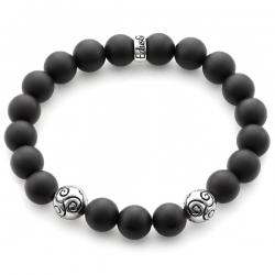 Sterling Silver Celtic Bead Matte Onyx Bracelet by Edus&Co