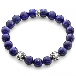 Sterling Silver Star Bead Blue Lapis Lazuli Bracelet by Edus&Co