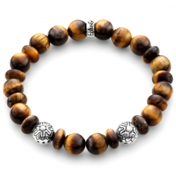 Sterling Silver Star Bead Tiger Eye Adjustable Bracelet Edus&Co
