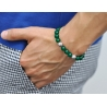 Sterling Silver Flower Bead Green Onyx Adjustable Bracelet Edus&Co