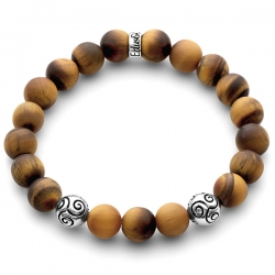 925 Silver Celtic Bead Matte Tiger Eye Adjustable Bracelet Edus&Co