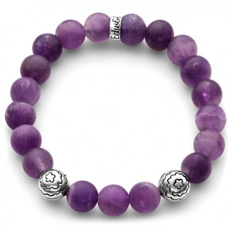 925 Silver Flower Bead Matte Amethyst Adjustale Bracelet Edus&Co