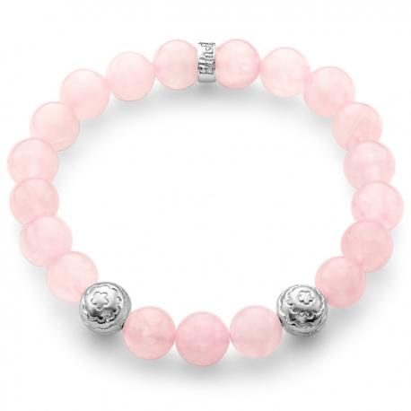 Sterling Silver Flower Bead Pink Quartz Adjustable Bracelet Edus&Co