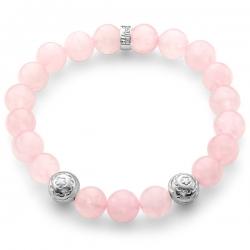 Sterling Silver Flower Bead Pink Quartz Bracelet by Edus&Co