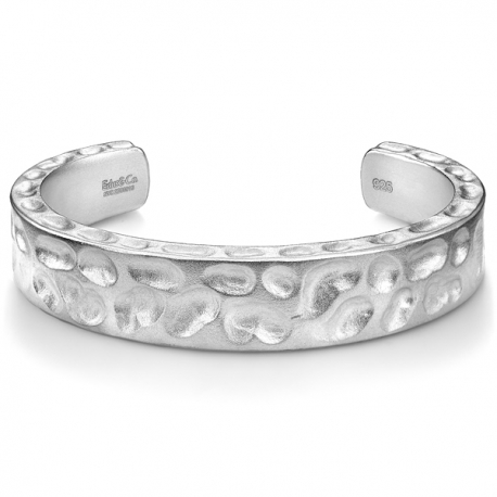 Matte Silver Diamond Camouflage Mens Heavy Cuff Bracelet Edus&Co