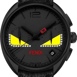 F214611611D1 Fendi Momento Bugs Diamond Eye Mens Black Watch