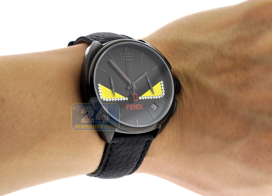b49e47830067 F214611611D1 Fendi Momento Bugs Diamond Eye Mens Black Watch