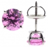 Womens Pink Swarovski Crystal Stud Earrings 14K White Gold 2.0 ct