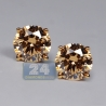 Womens Cognac Swarovski Crystal Stud Earrings 14K Yellow Gold