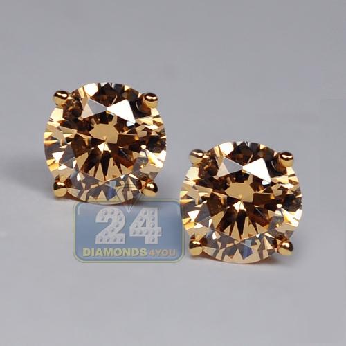 14k Yellow Gold Cognac Swarovski Crystal Womens Stud Earrings