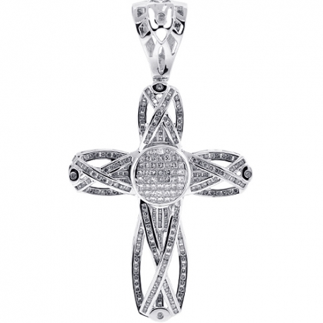 Mens Mixed Diamond Fancy Cross Pendant 14K White Gold 4.90 ct