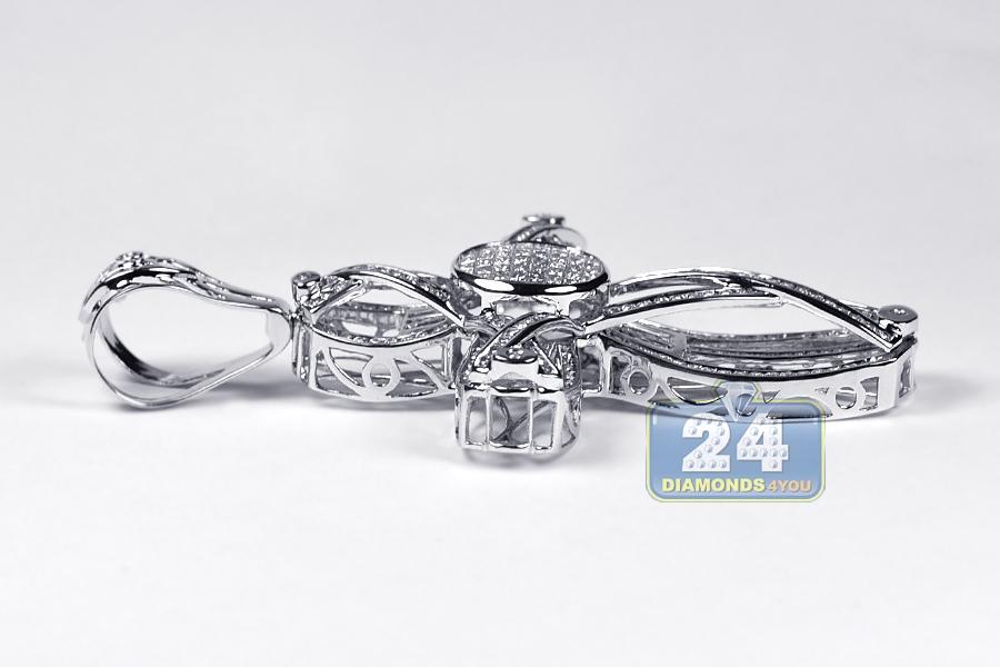 Mens diamond cross pendant 14k white gold 490 ct aloadofball Image collections