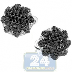 18K White Gold Mens 3.68 ct Black White Diamond Star Cuff Links