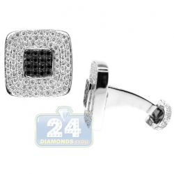 18K White Gold Mens 2.97 ct Black White Diamond Square Cuff Links