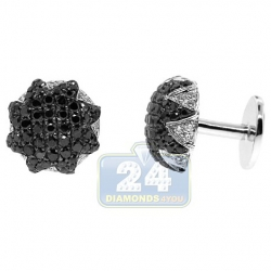18K White Gold Mens 3.54 ct Black White Diamond Star Cuff Links