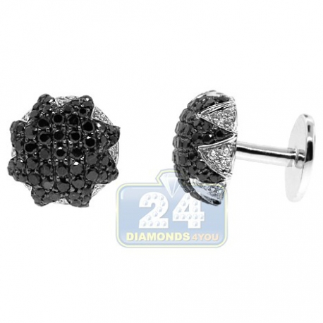 18K White Gold Mens 3.54 ct Black White Diamond Star Cuff Links