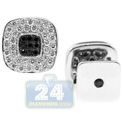 18K White Gold 2.11 ct Mixed Diamond Square Mens Cuff Links