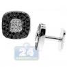 18K White Gold 2.12 ct Black Diamond Mens Square Cuff Links