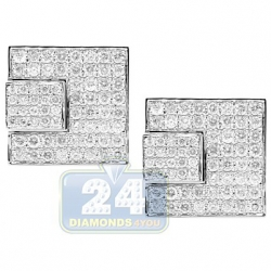 14K White Gold 3.56 ct Pave Diamond Square Mens Cuff Links