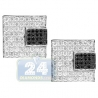 14K White Gold 3.56 ct Pave Black Diamond Mens Square Cuff Links