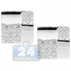 14K White Gold 2.63 ct Pave Diamond Square Mens Cuff Links