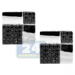 14K White Gold 2.90 ct Black Diamond Square Mens Cuff Links