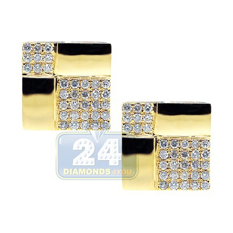 14K Yellow Gold 2.62 ct Diamond Square Mens Cuff Links