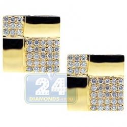 14K Yellow Gold 2.62 ct Diamond Square Mens Cuff Links