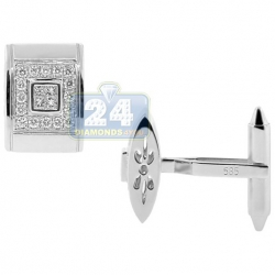 14K White Gold 0.90 ct Princess Round Diamond Rectanle Mens Cuff Links