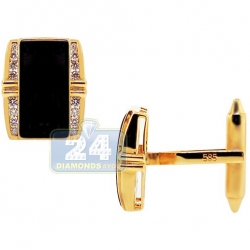 14K Yellow Gold 0.60 ct Diamond Black Onyx Rectangle Cuff Links