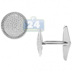14K White Gold 1.43 ct Diamond Round Bezel Mens Cuff Links