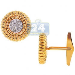 14K Yellow Gold 0.43 ct Diamond Mens Vintage Bezel Round Cuff Links