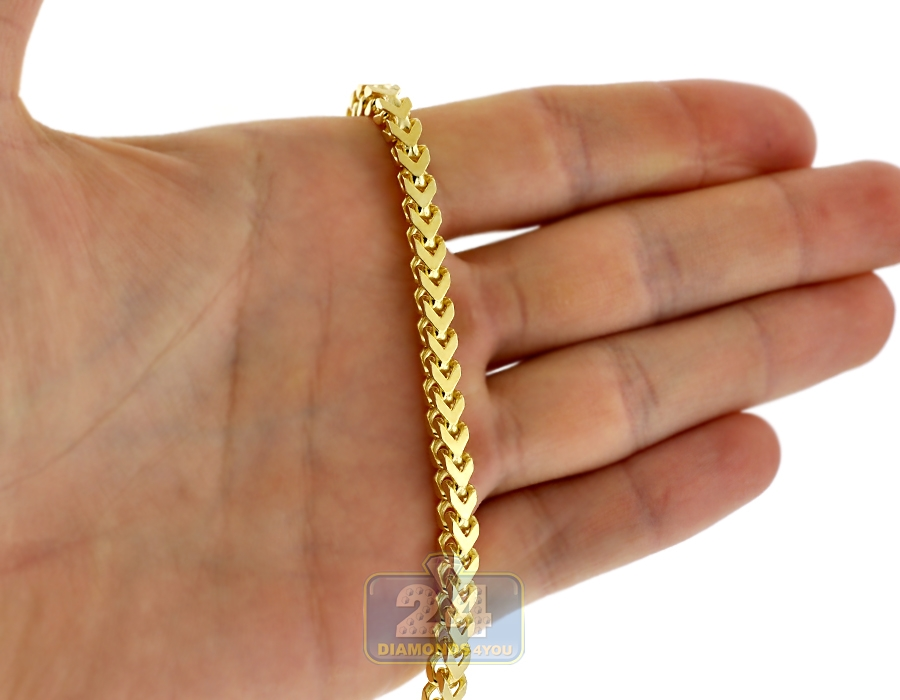 Yellow 925 Silver Solid Franco Mens Chain 4 5 Mm 30 36 40