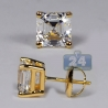 Womens Stud Earrings 14K Yellow Gold 3 ct Asscher Swarovski Crystal
