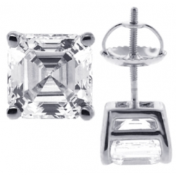 Womens Stud Earrings 14K White Gold 3 ct Asscher Swarovski Crystal