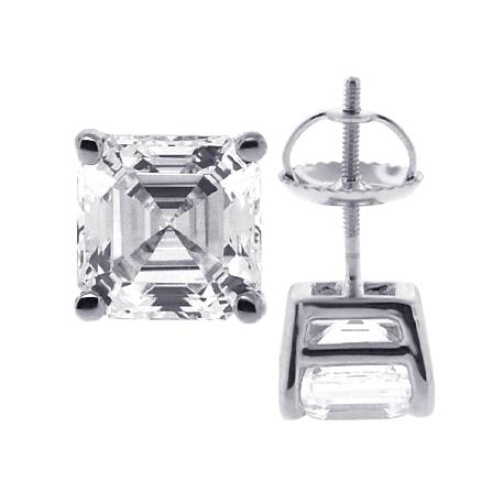 Womens Stud Earrings 14K White Gold 3 ct Asscher Swarovski Crystal
