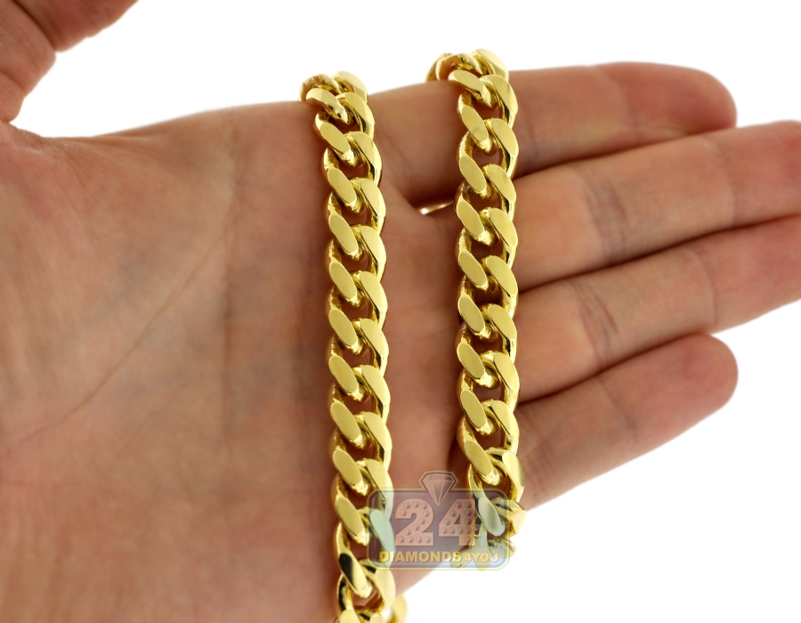 Yellow Gold Sterling Silver Miami Cuban Mens Chain 10mm 26 30 Quot