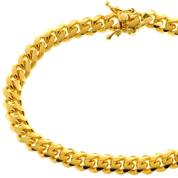 Yellow Gold 925 Silver Miami Cuban Link Mens Bracelet 6.8mm 8.5""