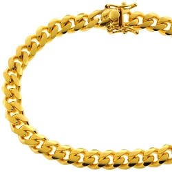 Yellow Sterling Silver Miami Cuban Link Bracelet 7.2 mm 8 1/2 inches