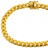 "Yellow Sterling Silver Miami Cuban Mens Bracelet 7.2mm 8.5"""
