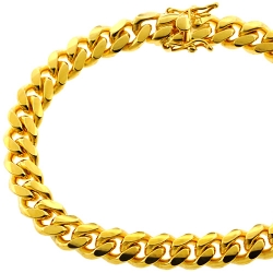 Yellow Sterling Silver Miami Cuban Link Mens Bracelet 8.5 mm 8.5 inch