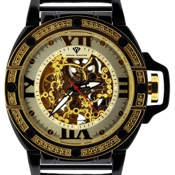 Aqua Master Automatic Skeleton 0.24 ct Diamond Mens Yellow Watch