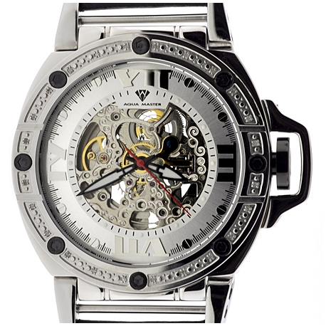 Aqua Master Automatic Skeleton 0.24 ct Diamond Mens Silver Watch