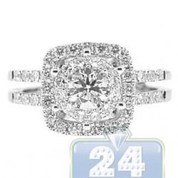 14K White Gold 1.49 ct Diamond Womens Halo Engagement Ring