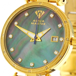Womens Diamond Watch Aqua Master 0.3 ct Yellow Gold Black Dial