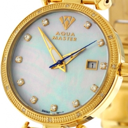 Womens Diamond Watch Aqua Master 0.3 ct Yellow Gold Blue Dial