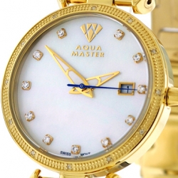 Womens Diamond Watch Aqua Master 0.3 ct Yellow Gold White Dial